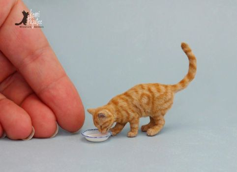Miniature Tabby Cat Sculpture with saucer of milk by Pajutee