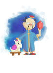 Stockwell and His Dog - Zelda Collab by CleverAsFoxes
