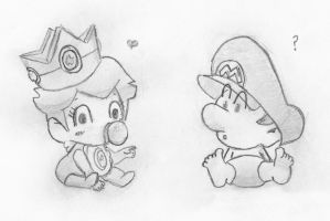 baby peach and baby mario by disturbednintendokid