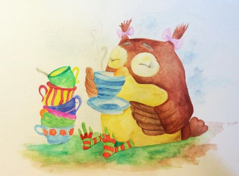 Tea with Ms. Owl by Caromatic