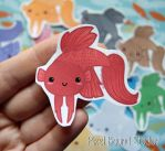 Chibi Veiltail Betta Stickers and Magnets by pixelboundstudios
