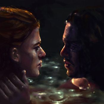 Game of Thrones - Jon and Ygritte by GrayscaleArt