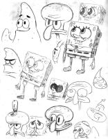Spongebob Pencil Sketches I by dwightyoakamfan