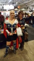 Female Thor and Captain America by EgonEagle