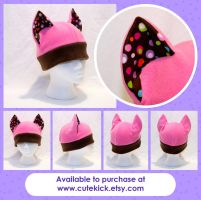 Pink Brown Spotted Cat Hat by cutekick
