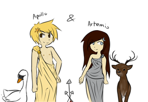 Apollo and Artemis by heartless-hugger