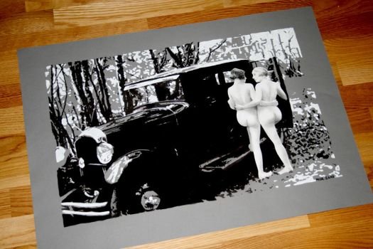 Old car and two naked ladies by ihni