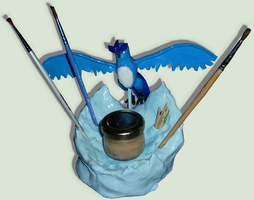 Handmade figure of Articuno ( Pencil Holder ) by TheLittlelight