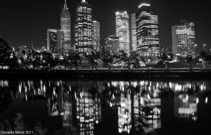 Melbourne Night BW by daniellepowell82