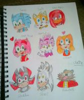 Sonic Characters Doodles by ClaireAimee