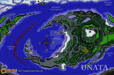 World Map of Unata: Full Color by briescha