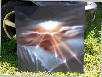 Airbrush clouds scenery in acrylic 3 by Airgone