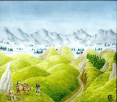 Hobbits in Barrow-downs by OnMyWind