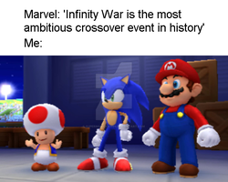Mario and Sonic - Avengers Infinity War Meme by SuperMarioFan65