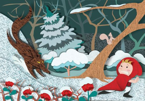Little Red Riding Hood - Winter by christina-masci-art