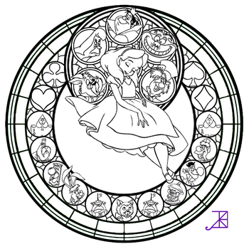 Alice Stained Glass -line art- by Akili-Amethyst