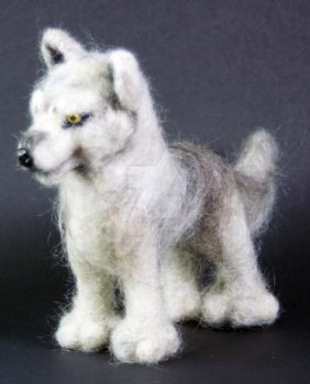 Needle Felted Gray Wolf 2 by The-GoblinQueen