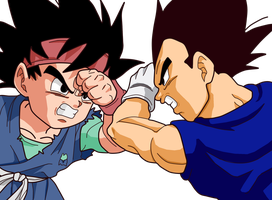 Goku Jr. vs Vegeta Jr. by Zed-Creations