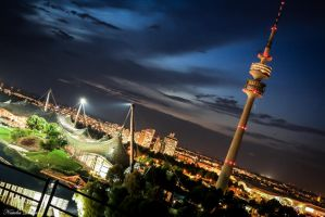 Munich cityscape at night by mydarkeyes