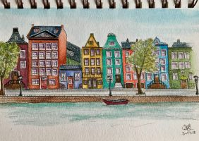 City (Ink and Wash) by Sillybilly60