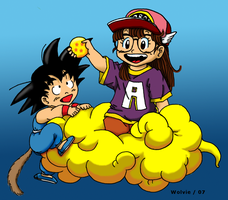 Son Goku and Arale by ChibiThekla