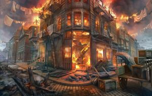 Street on fire by lhebrardrobin