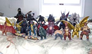 Godzilla toy collection by BlueRavenfire