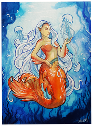 Jellyfish Mermaid - Watercolor Painting by sugarpoultry