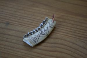 Iron age deer jaw pendant by Dewfooter