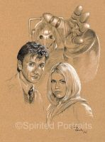 The Doctor, Rose and cyberman by Timedancer