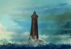 lighthouse and the sea by explodingHeath