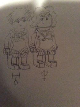 LEGO Sailor Uranus and Sailor Neptune by doctorwhooves253