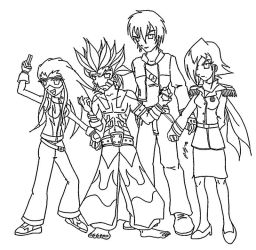 Shikoku Elite Four uncolored by y2jchampion