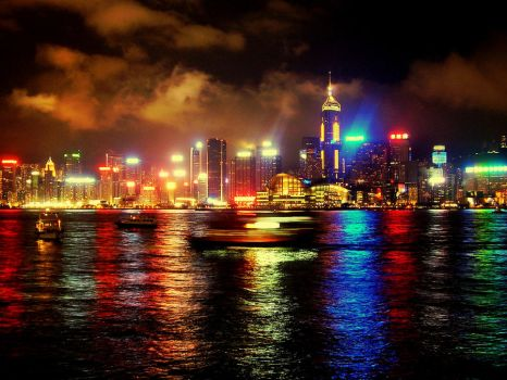 Victoria Harbour Lights by cityheadache