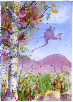 Gouache and Birch Study (with a freakin' Dragon) by LainyCakes