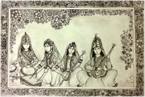 Safavid Court Musicians of Persian Safavid Dynasty by Gambargin