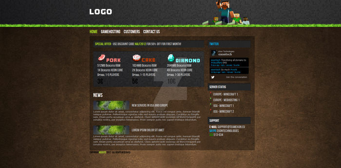 Minecraft HTML/CSS - Hosting Template FOR SALE by JamiraCraft