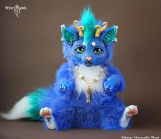 Blue Dragon-Cat by Flicker-Dolls