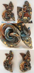 Dragon Pendant Blue/Gold/Red by spaceship505