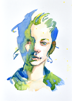 playful portrait green and blue by Neivan-IV