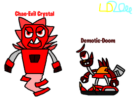 Mixels: Chao-Evil Crystal and Demotic-Doom by Luqmandeviantart2000