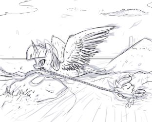 Scootaloo tried to fly and fell into the river by Arkwys