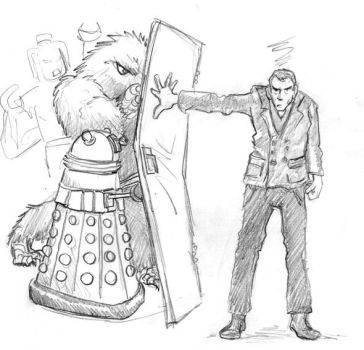 9th Doctor and a door by infiniteviking