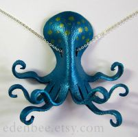 Octopus pendant in turquoise and green by shmeeden