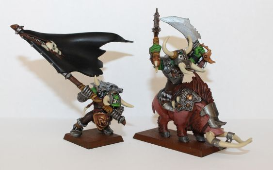 Orc Boss and Great Waaagh Banner by NeroUrsus
