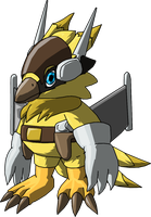 Shrikemon (Sparrowmon pre-evo) by Miracle-Fox