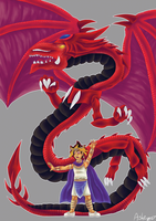 Atem and Slifer by ashe-the-hedgehog