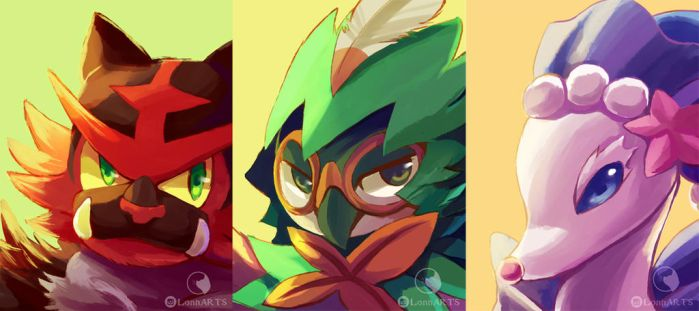 Sun and Moon starters by kcpasin