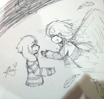Asriel and Chara by NecryoNics