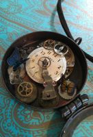 Steampunk Locket Blue Yellow Butterfly Necklace by xxPRECIOUSMOMENTSxx